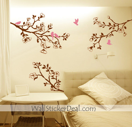 branch cherry blossom birds wall sticker home decorating photo home sweet home wall sticker decals