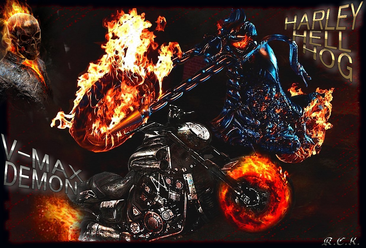 Wallpaper Seram 3d Ghost Rider Images Ghost Rider Bikes Hd Wallpaper And