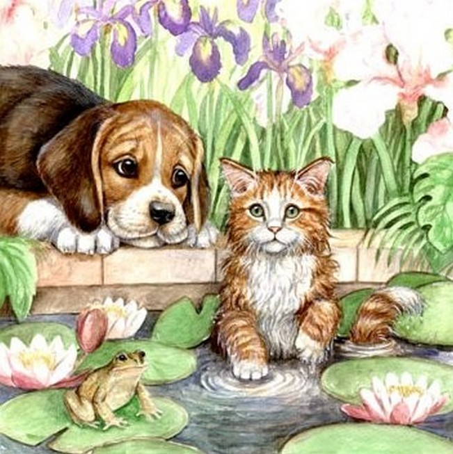 Wallpaper So Freakin Cute Cats Cat And Dog Art Cats Fan Art 36916223 Fanpop