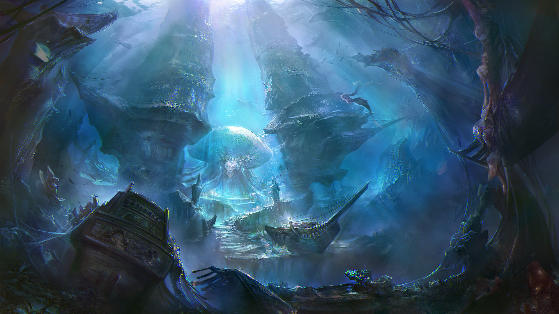 Realm of the mermaid goddess full hd wallpaper and