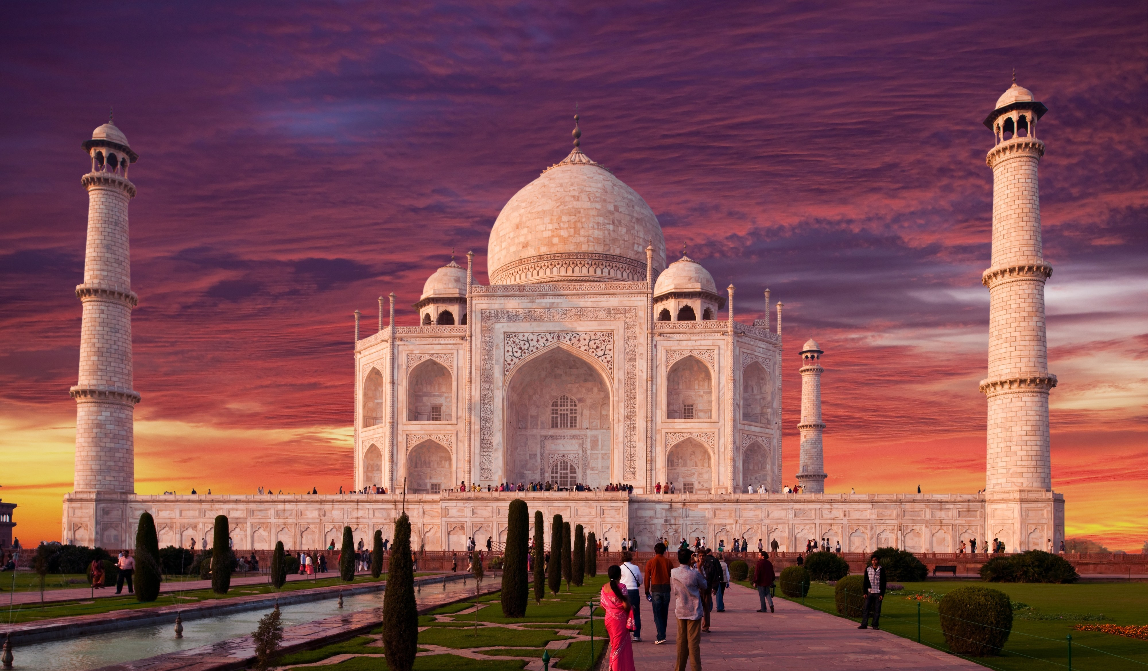 Taj Mahal Hd Wallpaper Man Made Taj Mahal Agra India Sunset Sky Uttar Pradesh