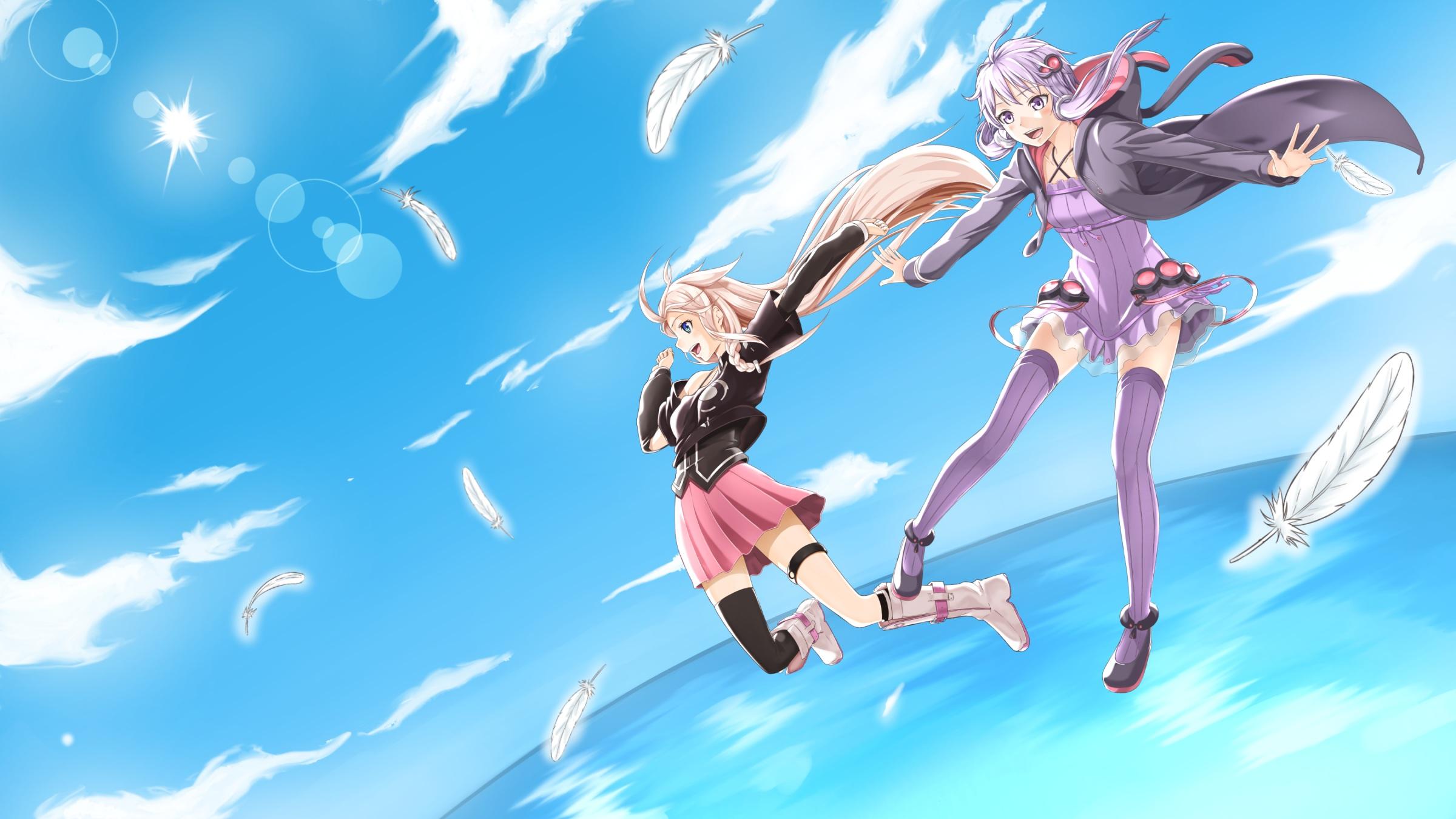 Anime Wallpaper Girls Hair Blonde Eyes Purple Ia Yukari Yuzuki Hd Wallpaper Background Image