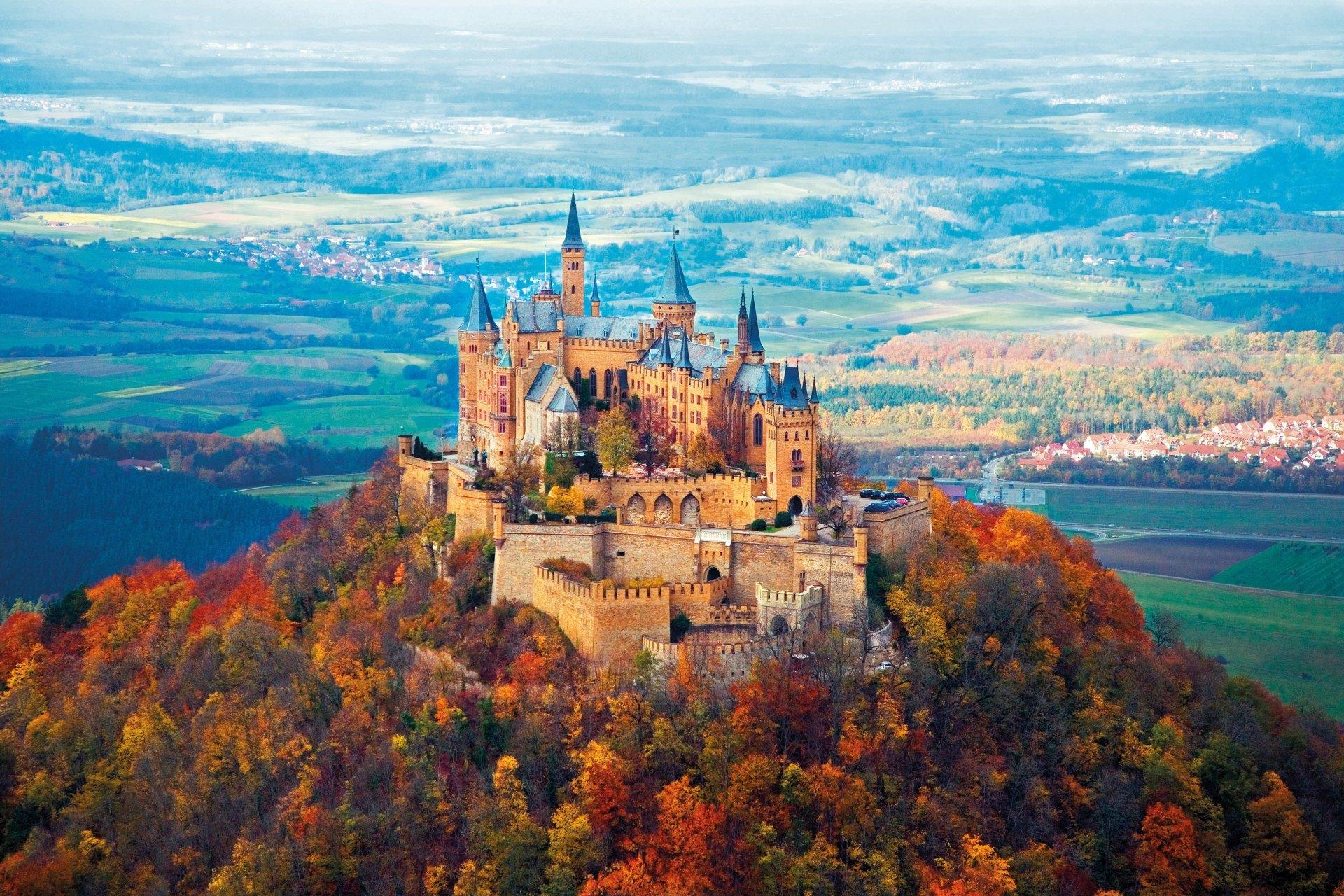 Fall Foliage Wallpaper Widescreen Hohenzollern Castle In The Fall 4k Ultra Hd Wallpaper