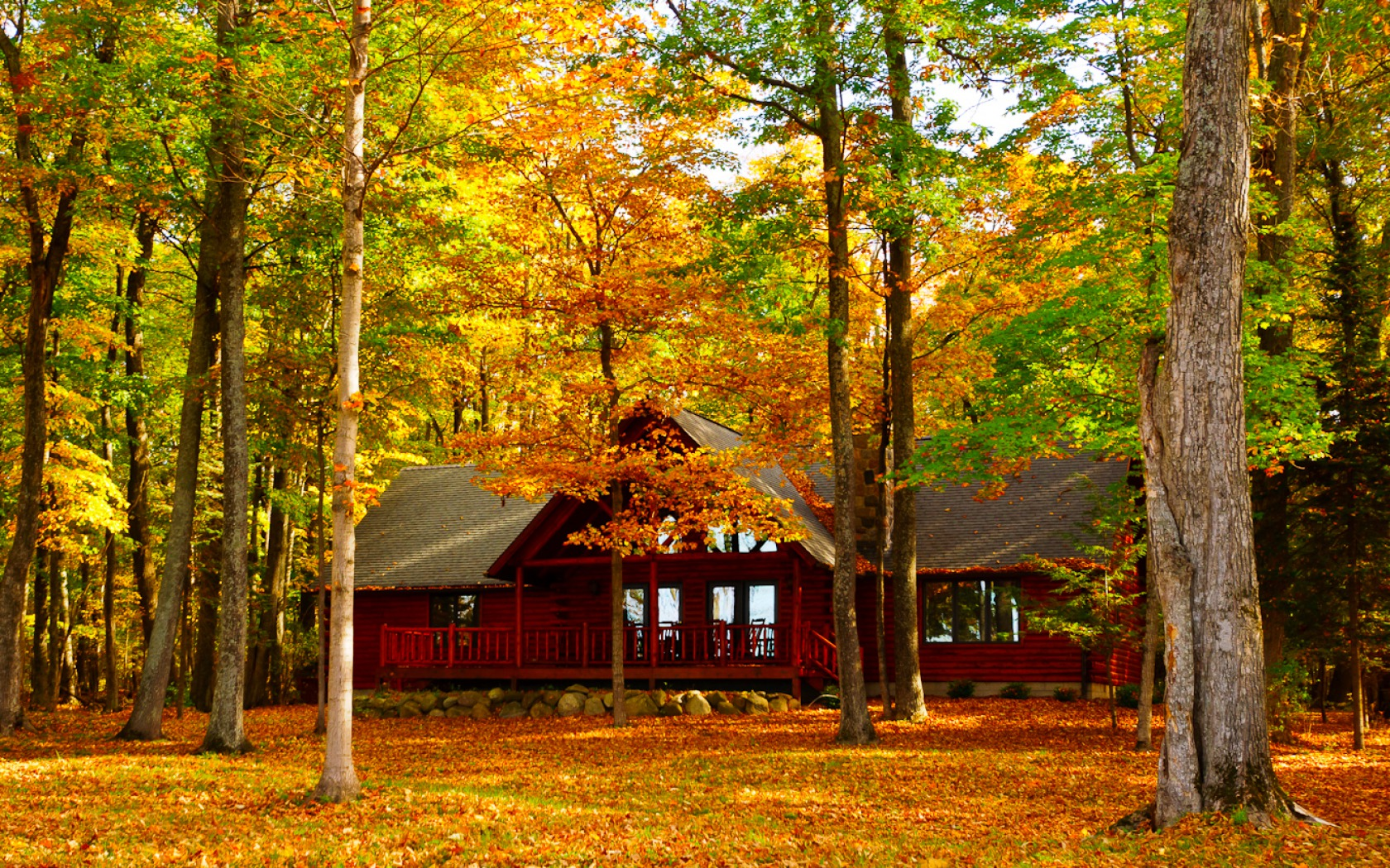 Fall Foliage Wallpaper For Iphone House In Autumn Forest Fond D 233 Cran And Arri 232 Re Plan