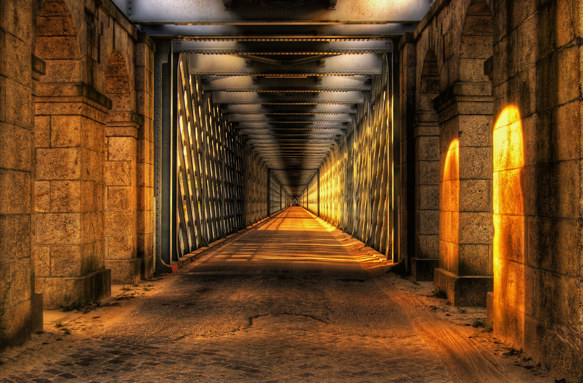 Wallpaper Brick 3d Long Hallway Hd Wallpaper Background Image 1953x1282