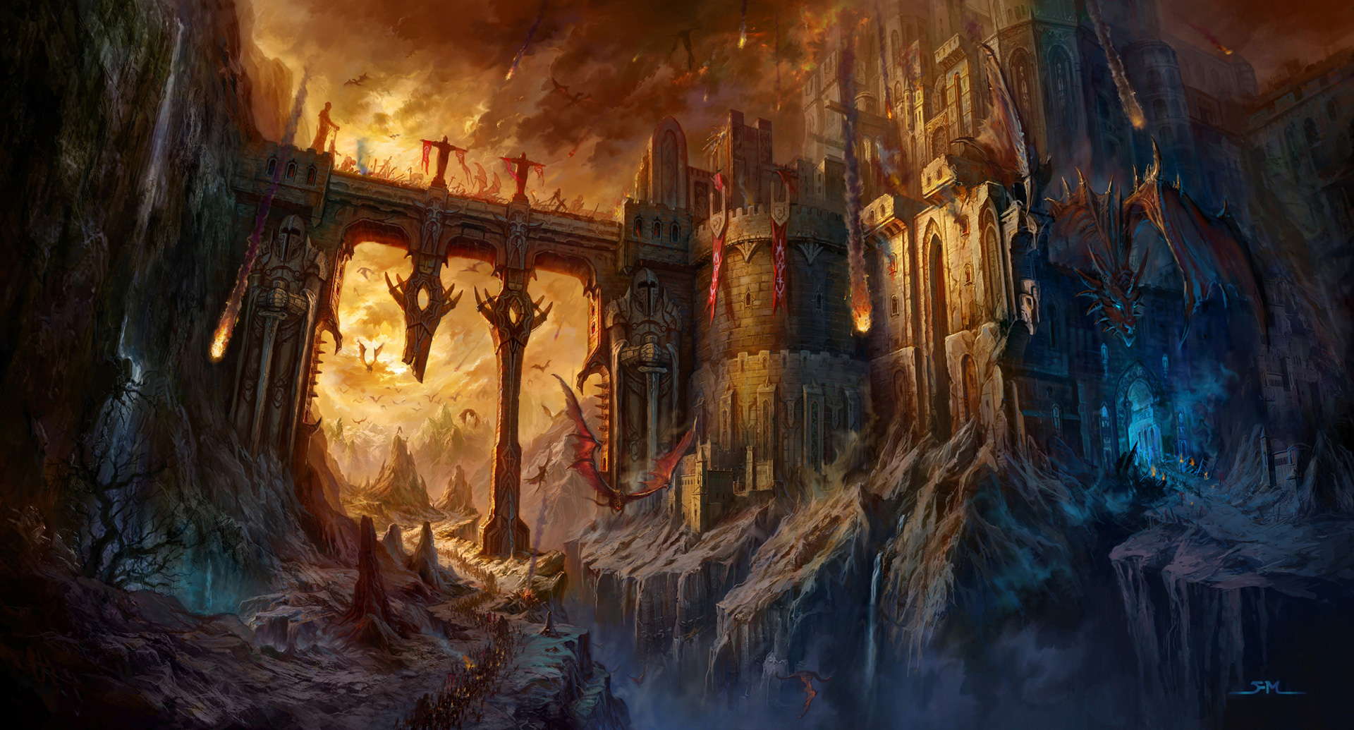 Fantasy World Art Dragon Castle Wallpaper And Background 1920x1035 Id 384126