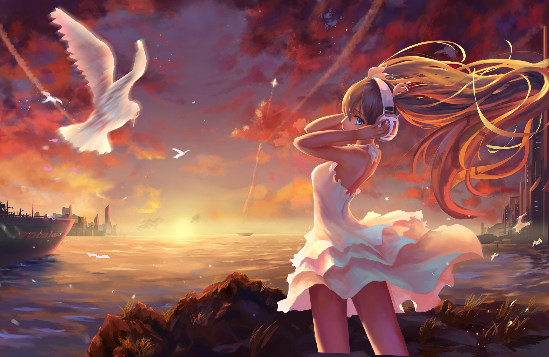 Amazing Wallpaper Girl Headphones Vocaloid Wallpaper And Background Image 1849x1205 Id