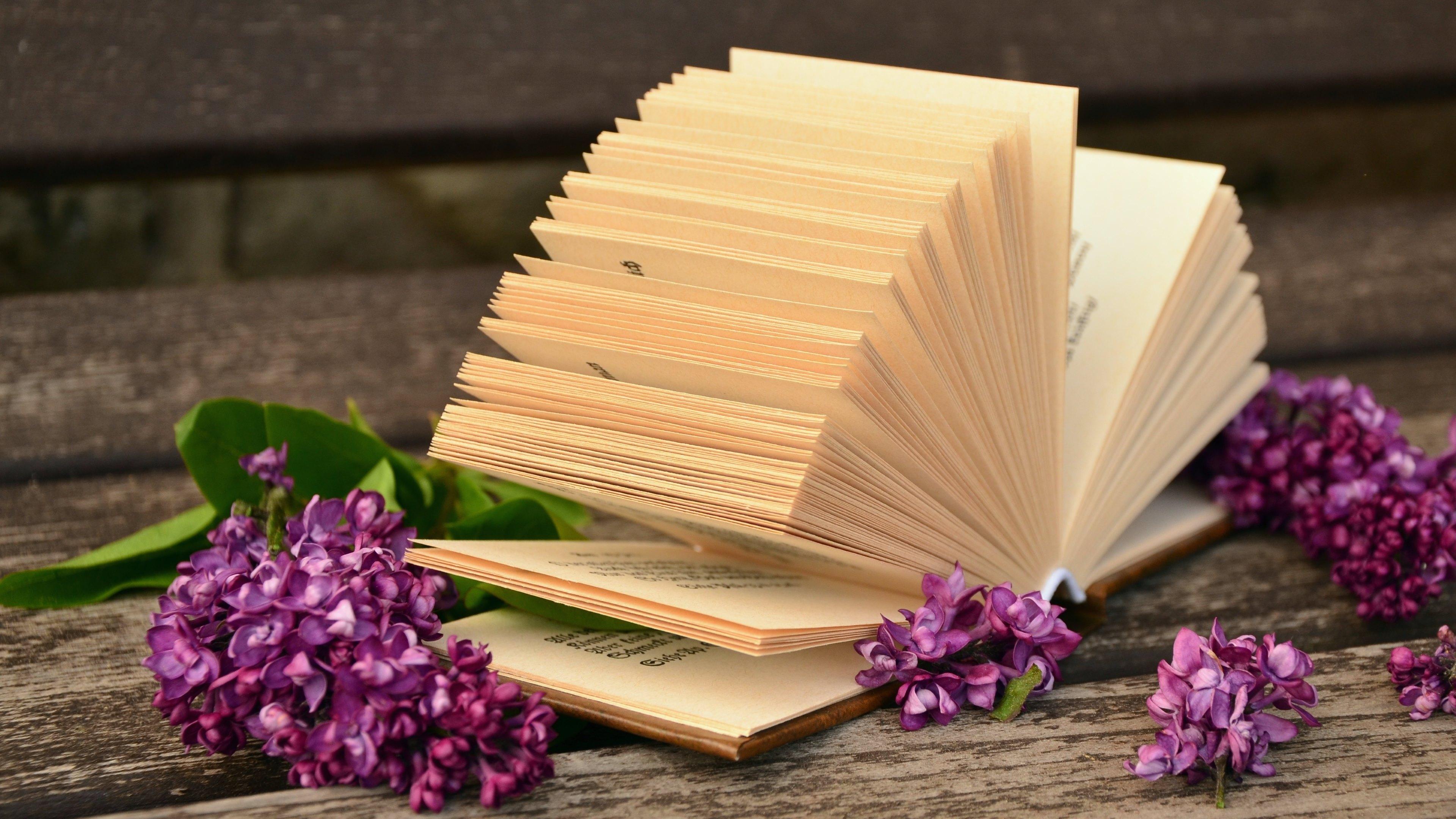 Desktop Wallpaper Book Quotes Lilac Flowers And A Good Book Computer Wallpapers Desktop