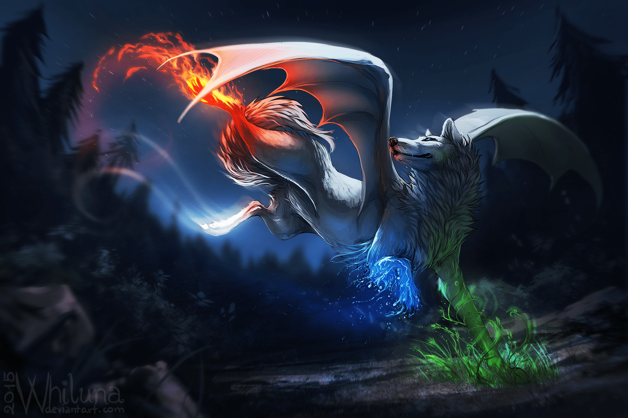 Coole Wolf Bilder The Four Elements In A Wolf Hd Wallpaper Background