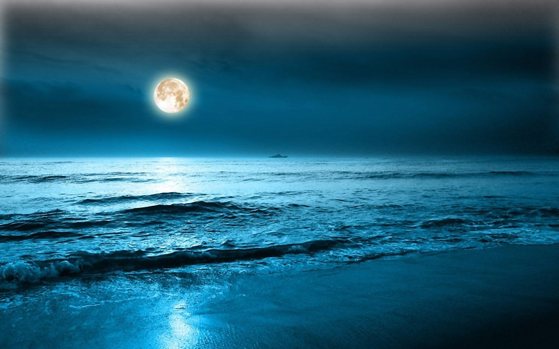 Descargar Libro Noc Full Moon Over Ocean Hd Wallpaper Background Image