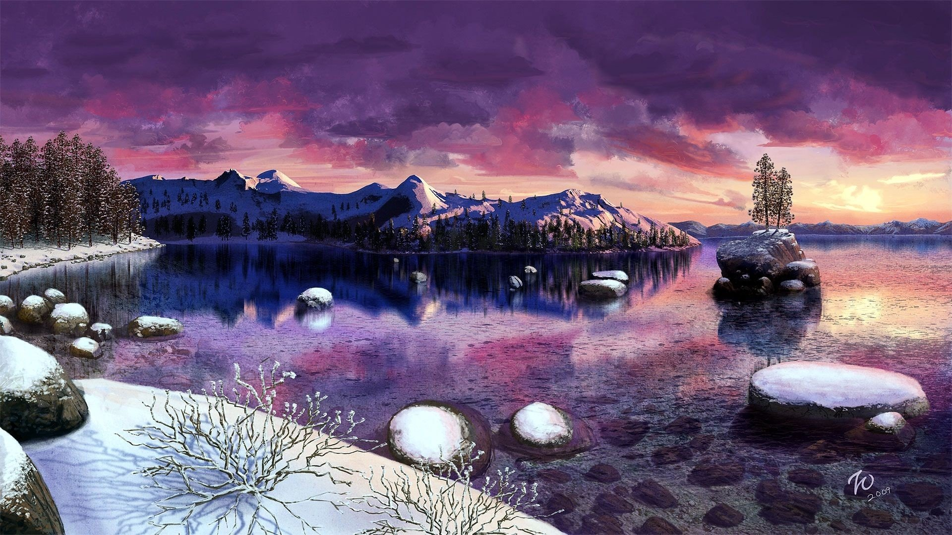 Iphone 5 Falling Snow Wallpaper Winter Sunset Over Lake Tahoe Hd Wallpaper Background