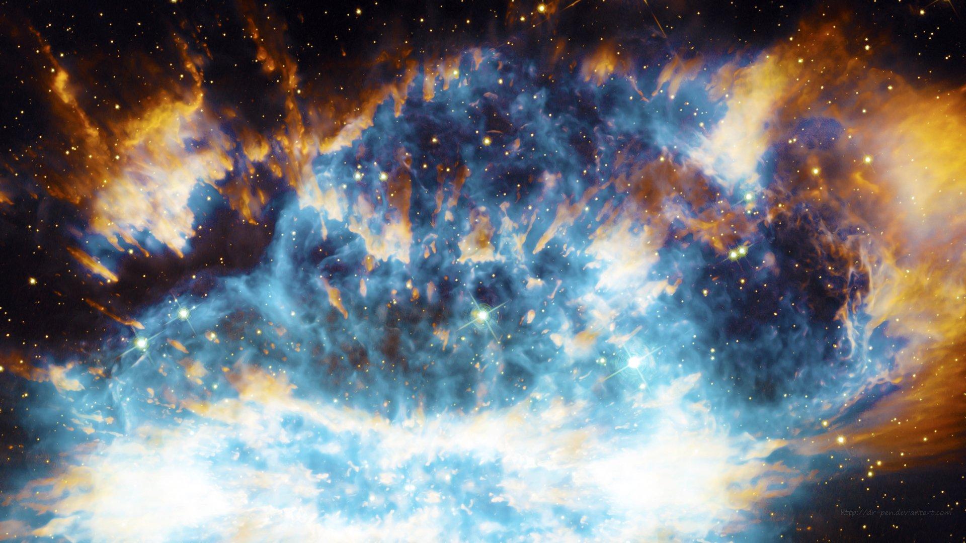 Cool Space Iphone Wallpaper Stark Blue Nebula Photomanipulated Wallpaper 4k Ultra Hd