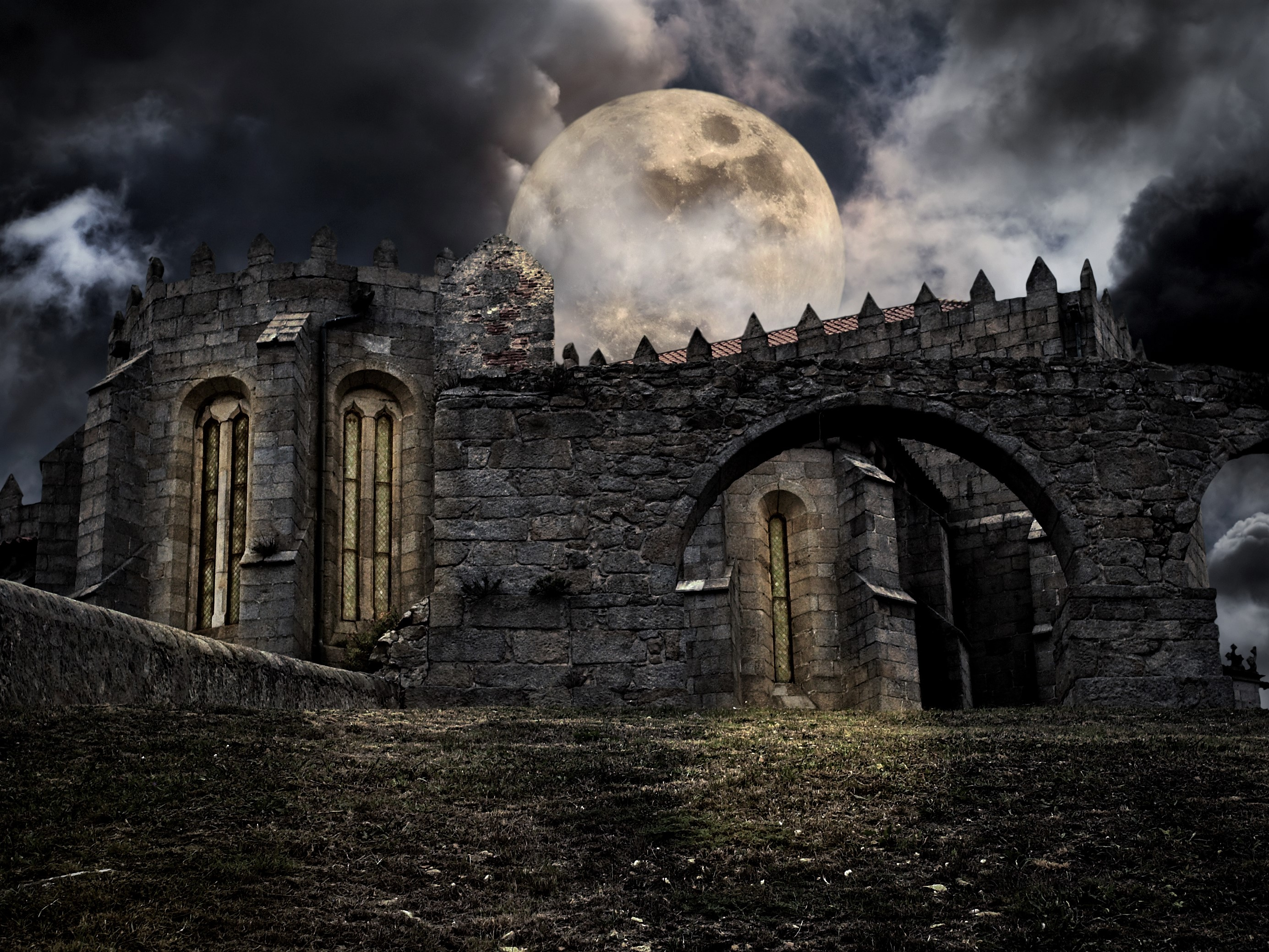 Lowrider Wallpaper Iphone Full Moon Over Old Castle Hd Wallpaper Background Image