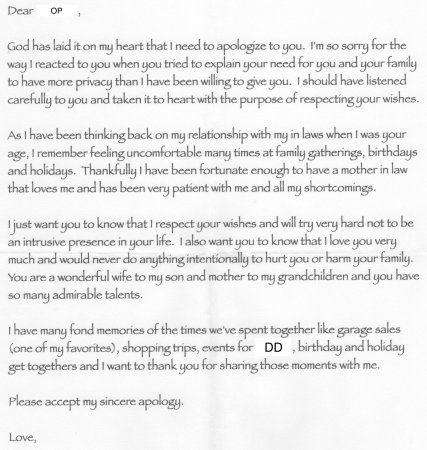 Apology letter from MIL - Need advise on how to interpret and answer - apology letter to family