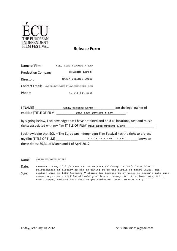 Film Release Form Wonderful Talent Release Form Template Gallery - Talent Release Form Template