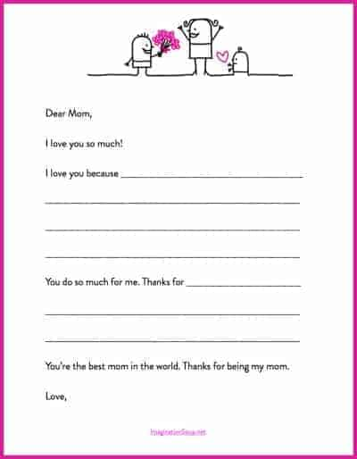 Here\u0027s a Quick Mother\u0027s Day Printable Letter Template Imagination Soup