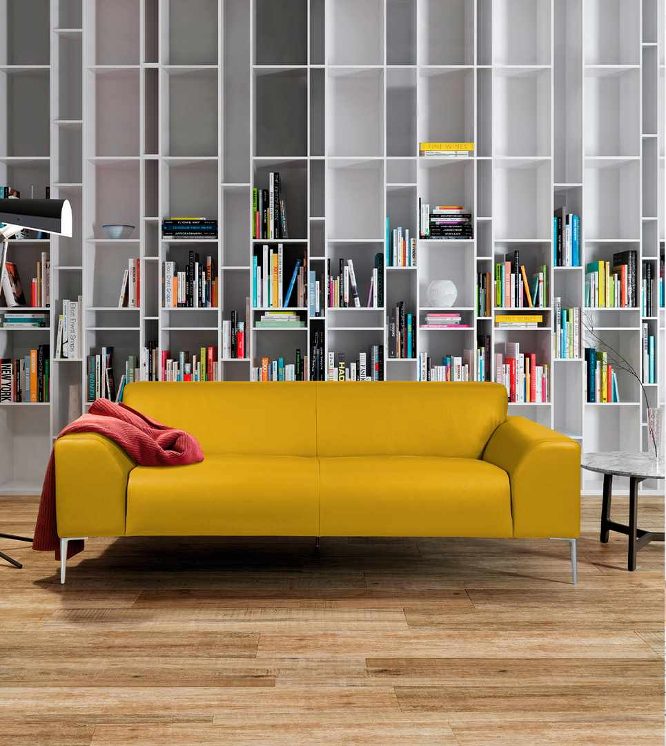 Montmartre High End Yellow Leather Sofa By Designer Bernard Masson