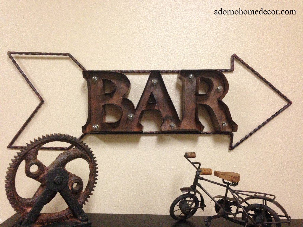 Rustic Outdoor Metal Wall Art Lighted Marquee Rustic Metal Bar Sign Wall Decor Arrow