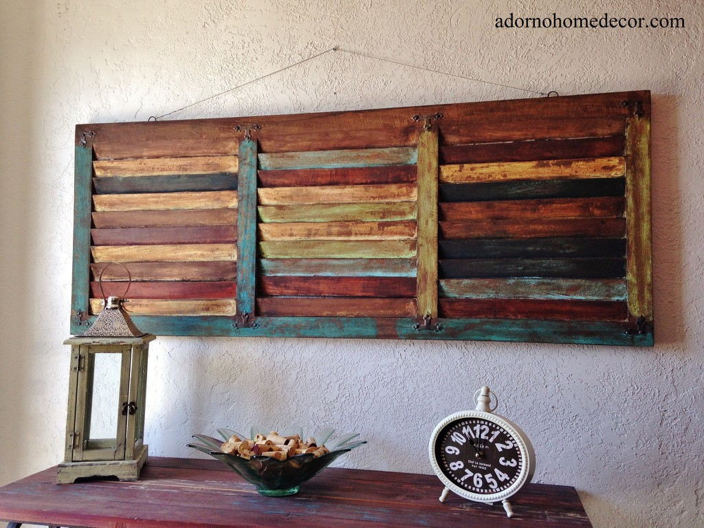 Wood Decorative Wall Art Rustic Wood Wall Panel Distressed Shutter Antique Vintage