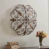 Elegant Round Wrought Iron Wall DECOR Scroll Fleur De Lis ...