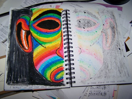 original sketch/idea in oil pastels