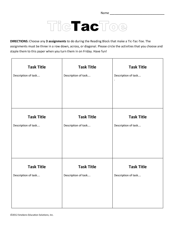 Task Sheets Ensure Efficient Literacy-Station Time - tic tac toe template