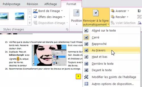 comment inserer photo cv sans decaler texte