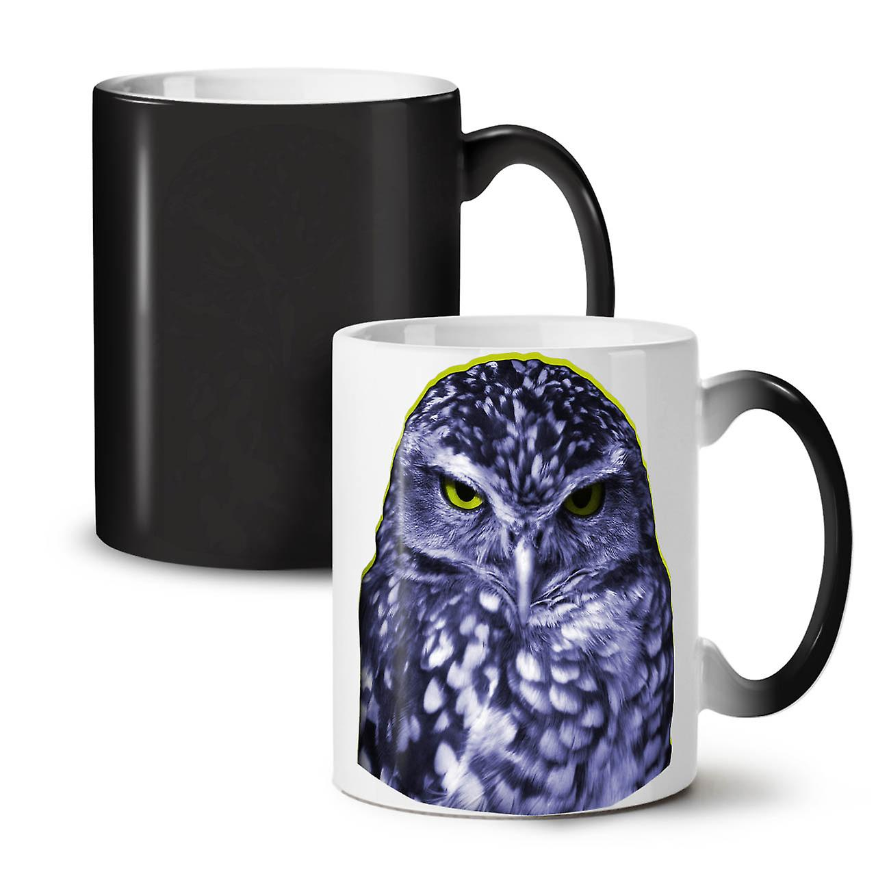 Owl Ceramic Mug Owl Dark Bird Wild Animal New Black Colour Changing Tea