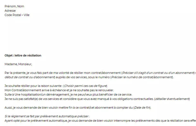lettre resiliation contrat pack serenite darty