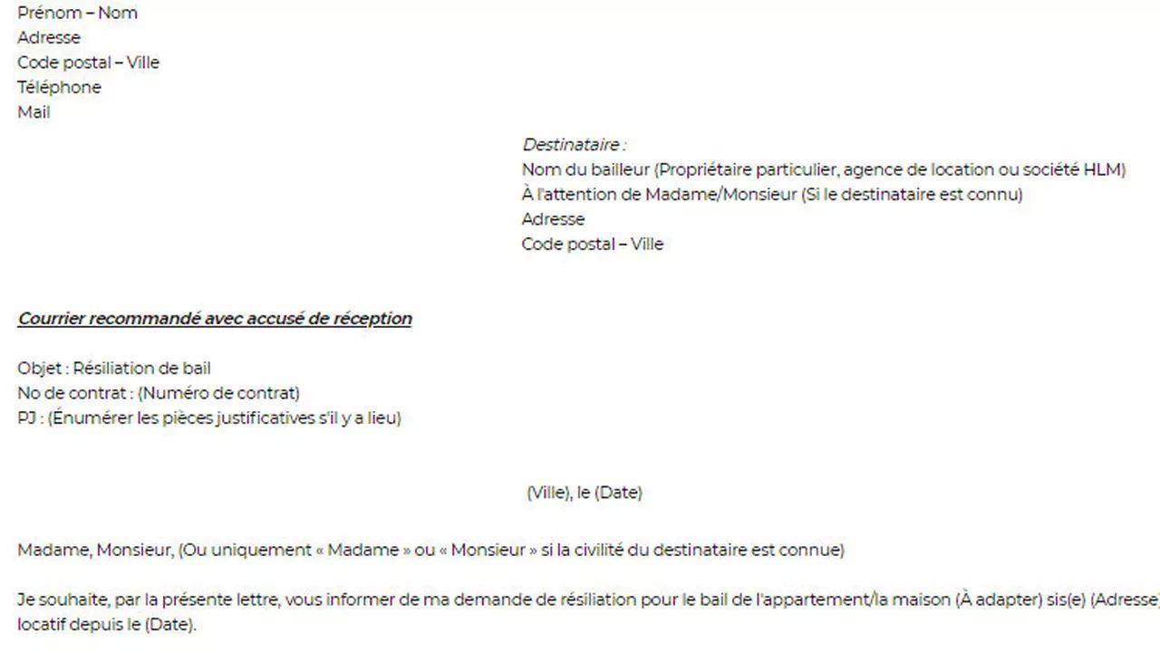 image resiliation bail location proprietaire lettre type modele cv