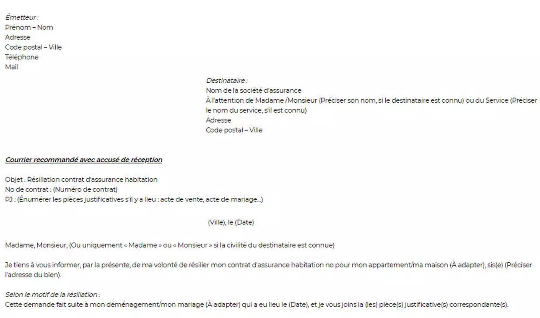 exemple lettre resiliation assurance habitation suite demenagement exemple de lettre