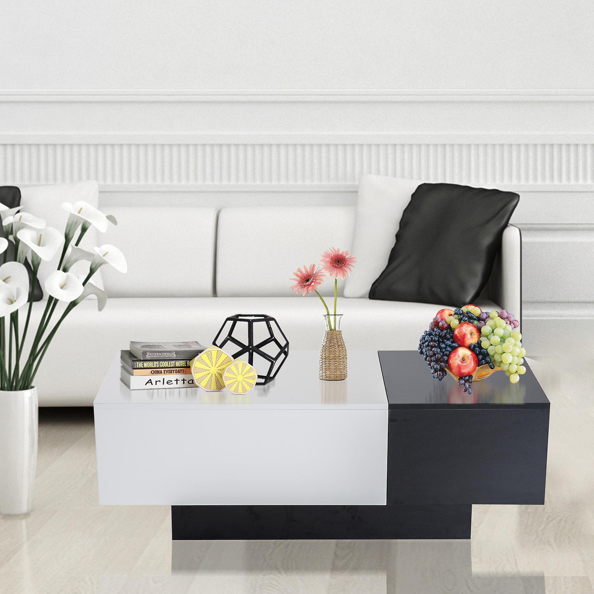 Modern Coffee Table With Storage Homcom Modern Coffee Table Storage Unit Living Room With Sliding Top Black And White