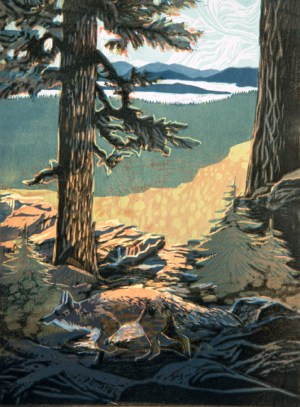 June 2016 Announcements from Rogue Gallery : Sierra Fox, woodblock print by Melinda Whipplesmith Plank