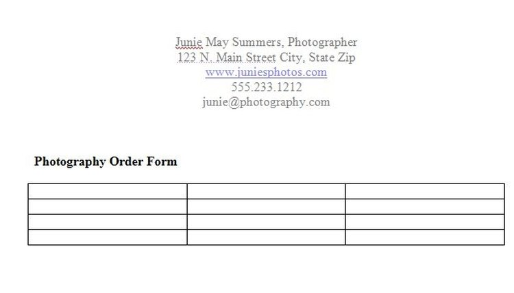 How to Create a Photography Order Form Career Trend