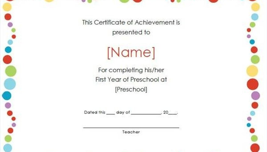 How to Create a Certificate of Achievement Bizfluent