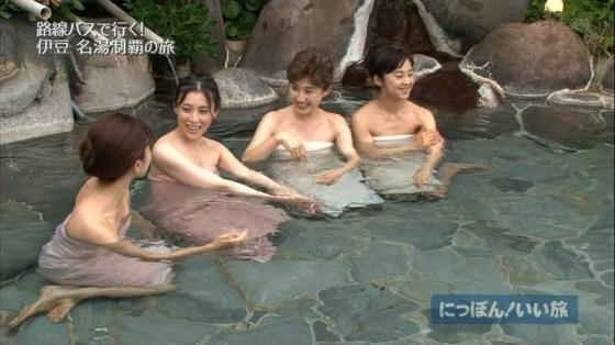【温泉キャプ画像】温泉番組で女性タレントが出てくると必ずオッパイ半分出して出てくるよなw 24