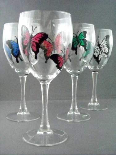 бокалы с бабочками роспись по стеклу