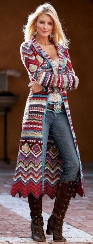 пальто одежда в стиле хиппи связанное крючком