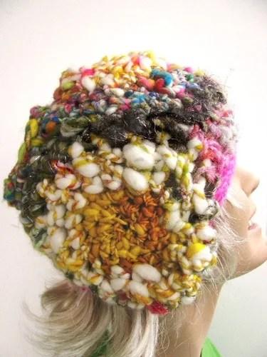 шапка крючком фриформ