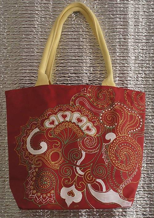 роспись акрилом на сумке