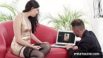 Beautiful Brunette Miranda Miller Gags on a big cock & gets her puckered butthole banged until she gets a warm creampie for Private.com!