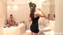 Amateur brunette beauty with a hairy snatch seduced him and got fucked in the bathroom.