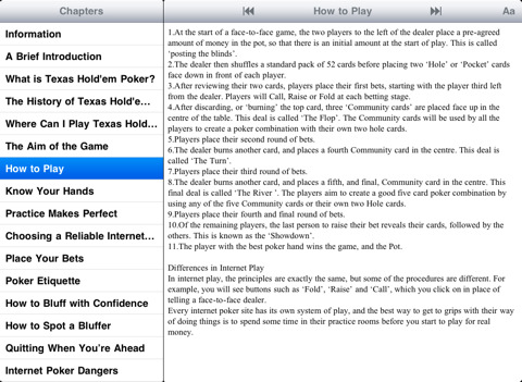Texas Holdem Poker Rules And Tips App For Ipad Iphone
