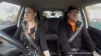 Big tits blonde driving student rides and wanks instructors big dick in car