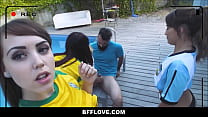 Young Athletic Spanish Girls Blondie Fesser, Lucia Nieto and Zoe doll Fuck Coach