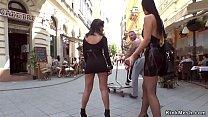 Stunning brunette European teen fucks for the crowd in bar