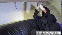 Niqab MilkingTable- Muslim Creampie- Hijab Teen with Braces Blowjob