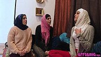 Arab young bride and her friends fuck a big black cock