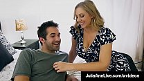 Beautiful Step Mom Julia Ann, slobbers on her Step Son's hard young dick & shoving it into her moist mature muff, until he dumps his cum on her face! Full Video & Julia Live JuliaAnnLive.com!
