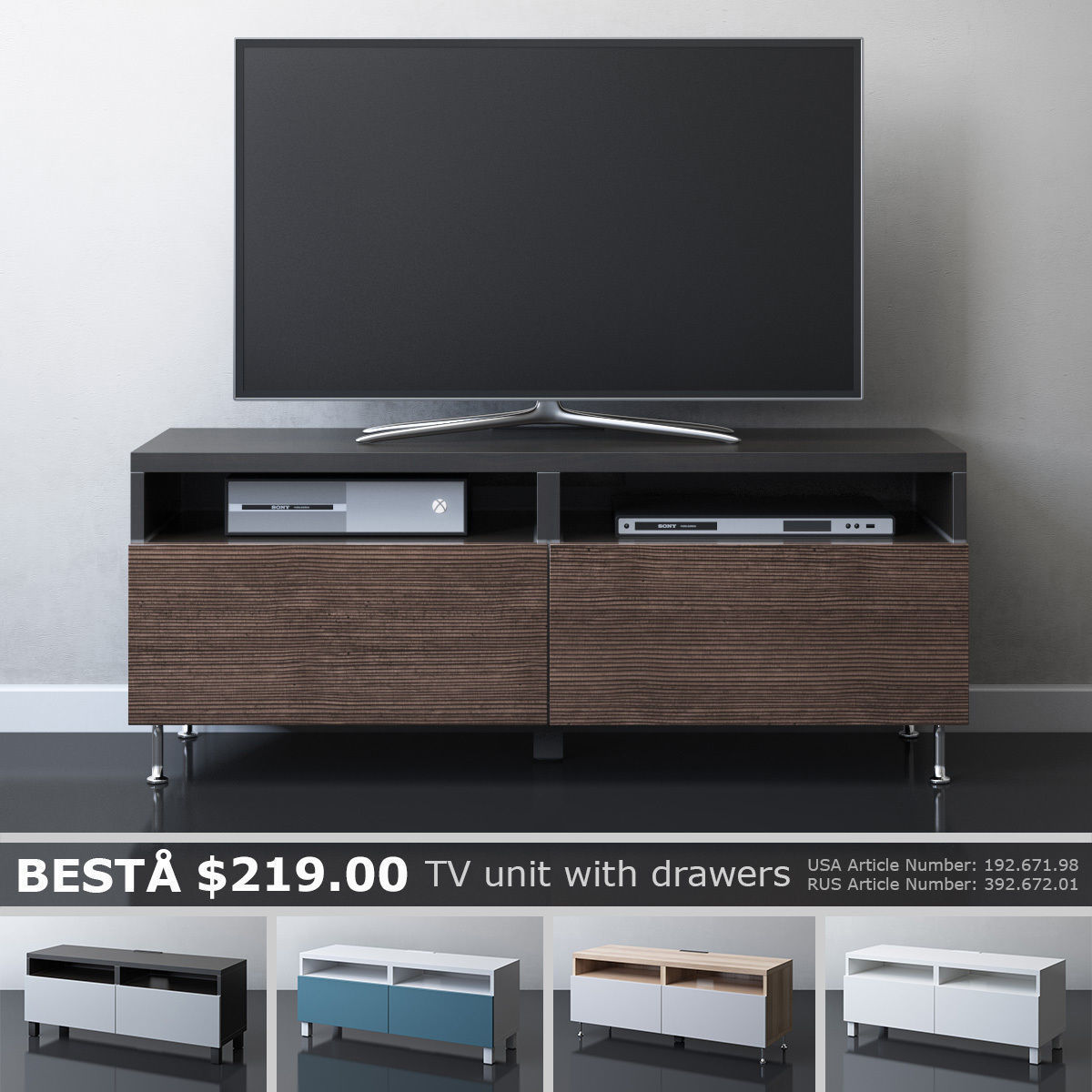 Besta Tv Ikea Besta Tv Unit With Drawers 3d Model